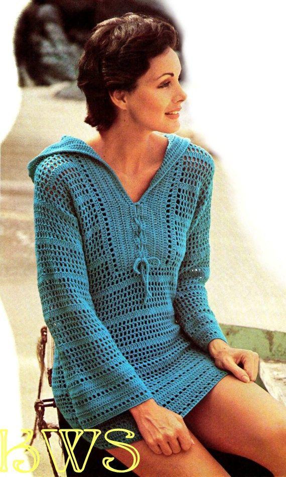 Vintage 70's Crochet Hippie Hooded Bikini by KinzieWoolShop