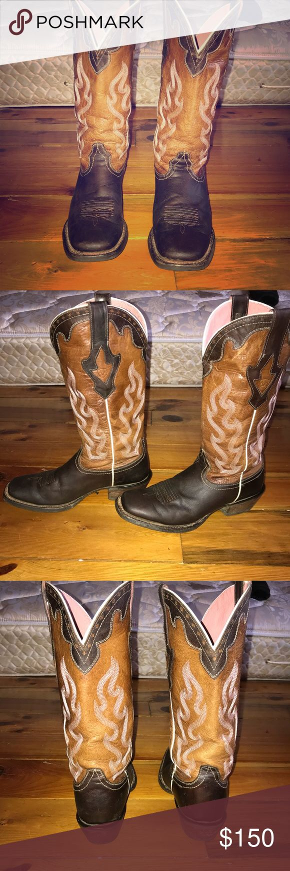 Arian Crossfire Boots Hardly worn, didn't like the noise they made when you walk, sound like heels.. few scuffs not many at all, size 7B. Been conditioned in the Ariat Mink Oil as shown in last picture. Mink Oil is NOT for sale. Ariat Shoes Heeled Boots