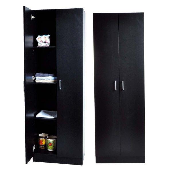 Cupboard 2 Door 4 Tier In Black Finish 60x40x180.5cm | Furnishings  | Cheap as Chips