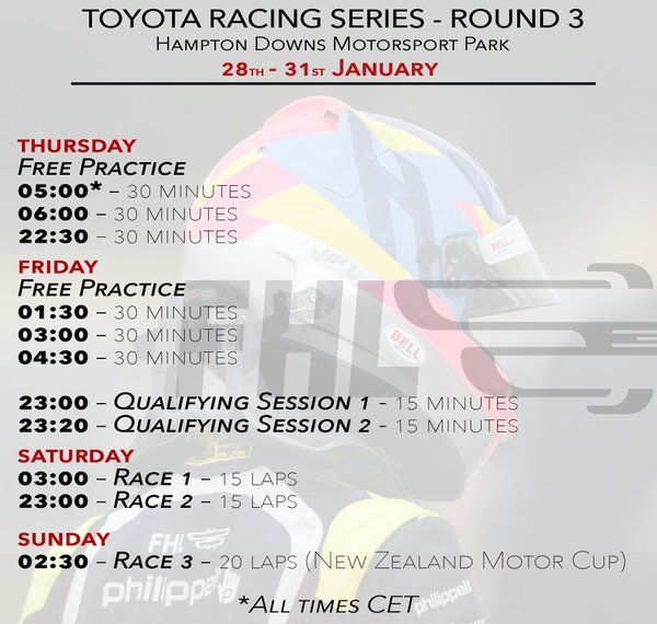 Hampton Downs - Time schedule