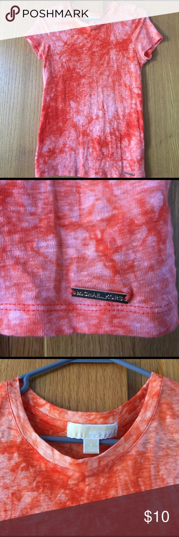 Michael Kors orange tie-dye T-shirt, small Michael Kors orange tie-dye short sleeve T-shirt. Has 'Michael kors' embossed gold bar on lower left hemline. 100% linen. New, without tags. Size small. Nonsmoking home. MICHAEL Michael Kors Tops Tees - Short Sleeve