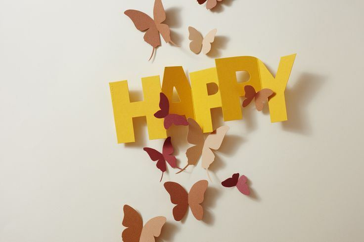 The word HAPPY comes as card with envelope or as a hang tag from Punchline Tag