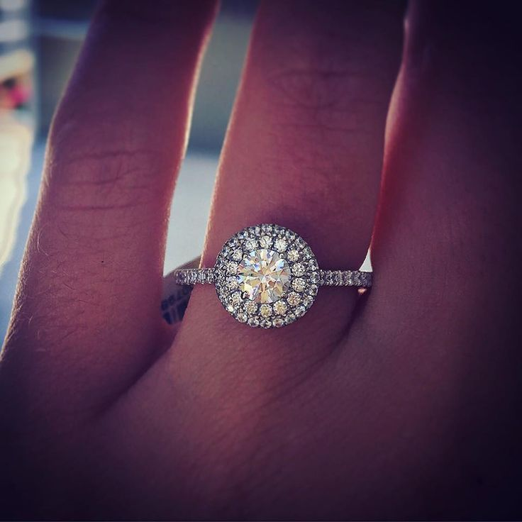 A. Jaffe Round Diamond Halo Engagement Ring