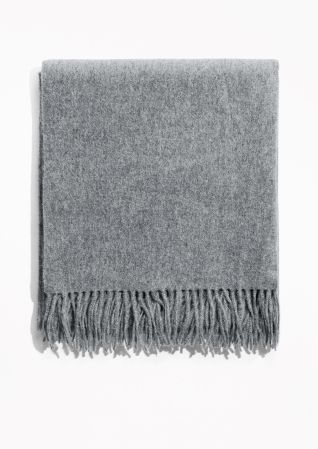 & Other Stories image 1 of Oversized Wool Scarf in Grey