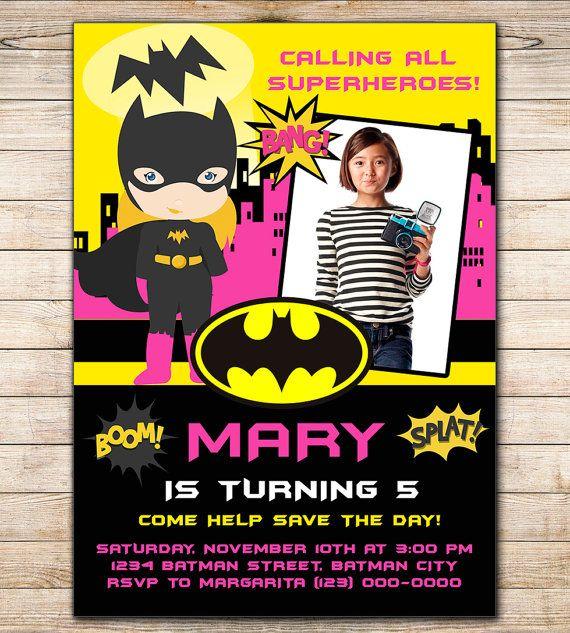Bat girl Design Custom Birthday Photo Invitation, Bat girl