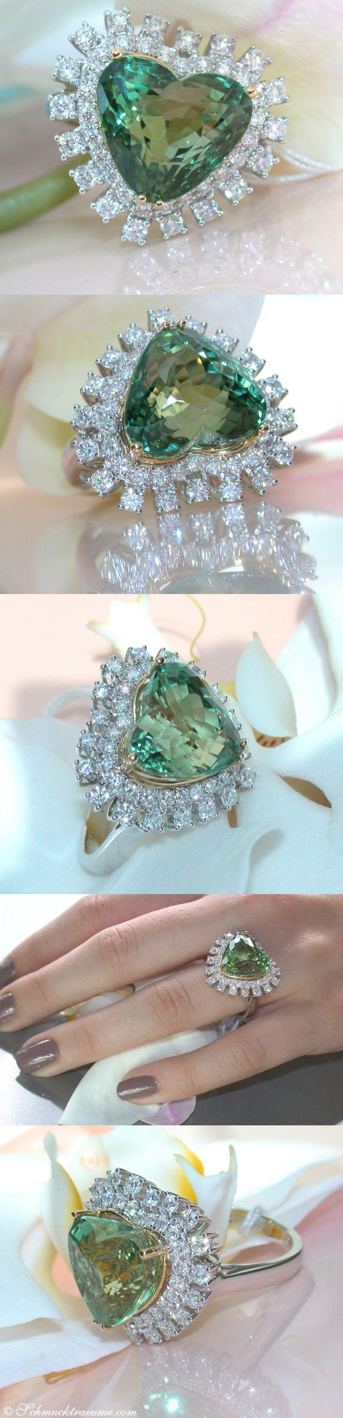 Glamorous Tourmaline Diamond Heart Ring, 11,49 cts. WG18K - Find out: schmucktraeume.com - Like: https://www.facebook.com/pages/Noble-Juwelen/150871984924926 - Contact: info@schmucktraeume.com