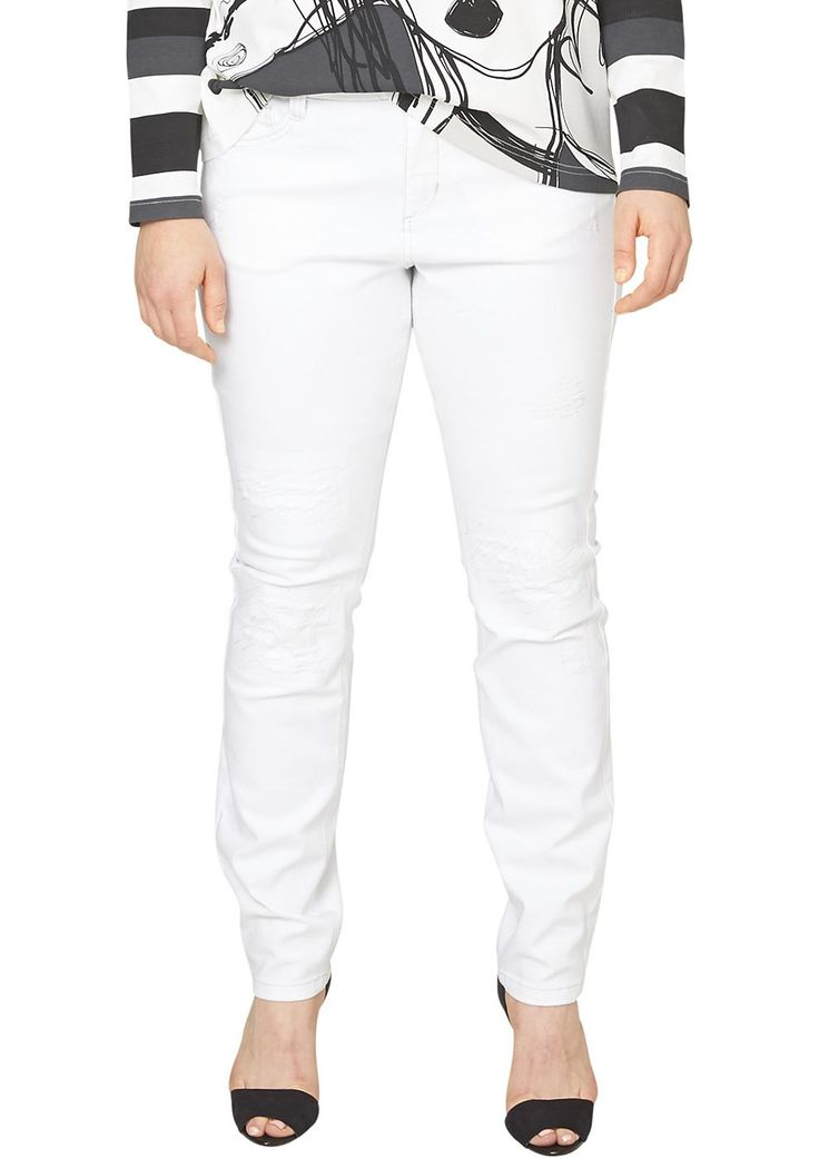 """Stretch-Jeans Unterlegte Destroyes. 5-Pocket-Form mit Reißverschluss. Figurbetonte Passform """"Kurvig"""" mit leicht vertieftem Bund und schmalem Bein für eine ausgeprägte Hüfte, einen runden Po und stärkere Oberschenkel. Elastische Twill-Qualität aus Baumwollstretch. Weiße Jeans sind das perfekte Frühjahrs- und Sommer-Basic. Dieses Exemplar punktet zudem mit besonders rockigem Design und kommt toll..."""