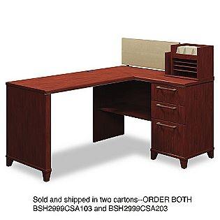 bush industries x corner desk solution box 1 of enterprise mocha cherry as shown