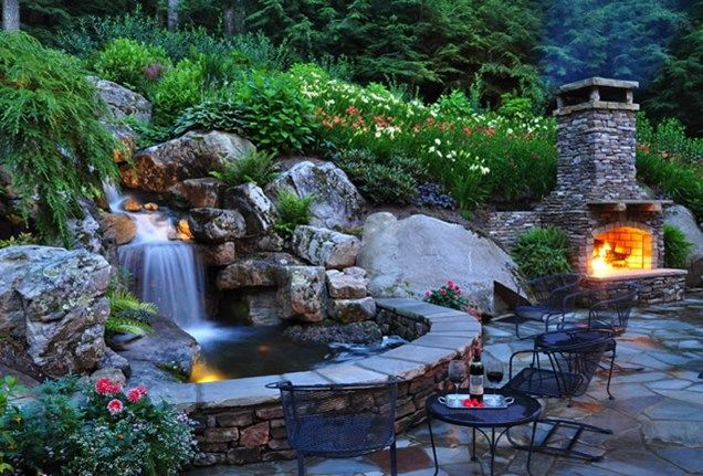 Backyard Waterfall, Waterfall Lighting Pond and Waterfall Greenleaf Services Inc. Linville, NC