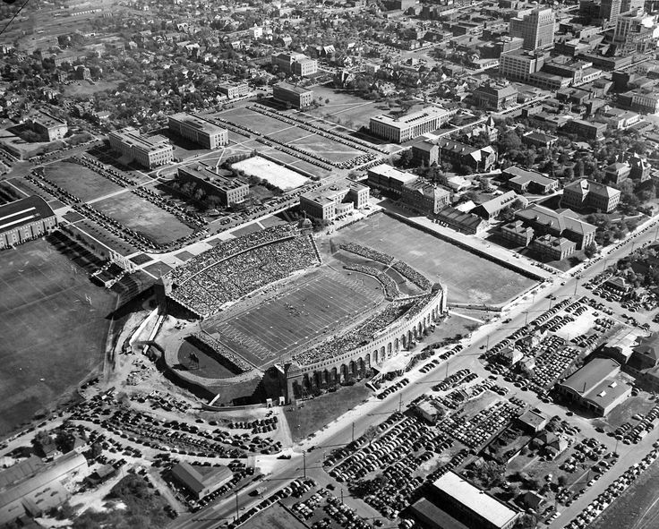 Memorial Stadium during a game on Oct. 12, 1940. The Huskers beat Indiana 13-7. The view is looking southeast toward the University of Nebraska campus. THE WORLD-HERALD