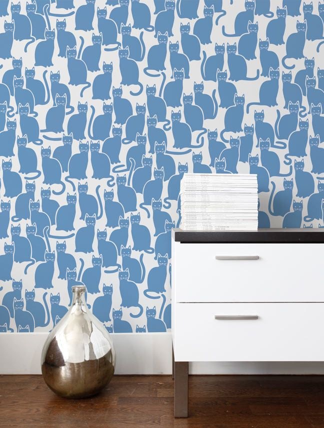 Blueberry Kitty Cat Wallpaper - assorted Colors