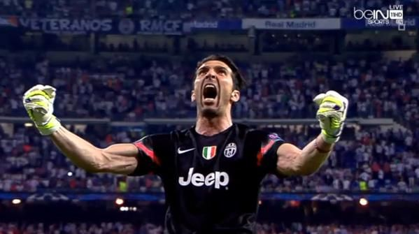 Gigi Buffon festeggia il gol di Morata in Real Madrid-Juventus 1-1