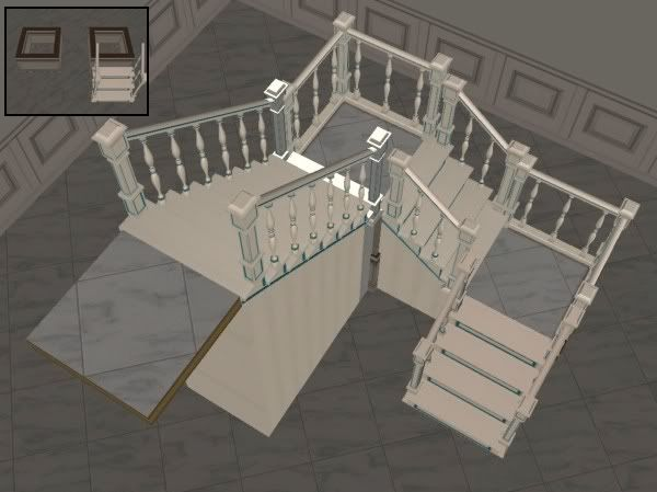 Mod The Sims - OFB Easy U-Shaped Modular Stairs *NO CHEATS* sims2