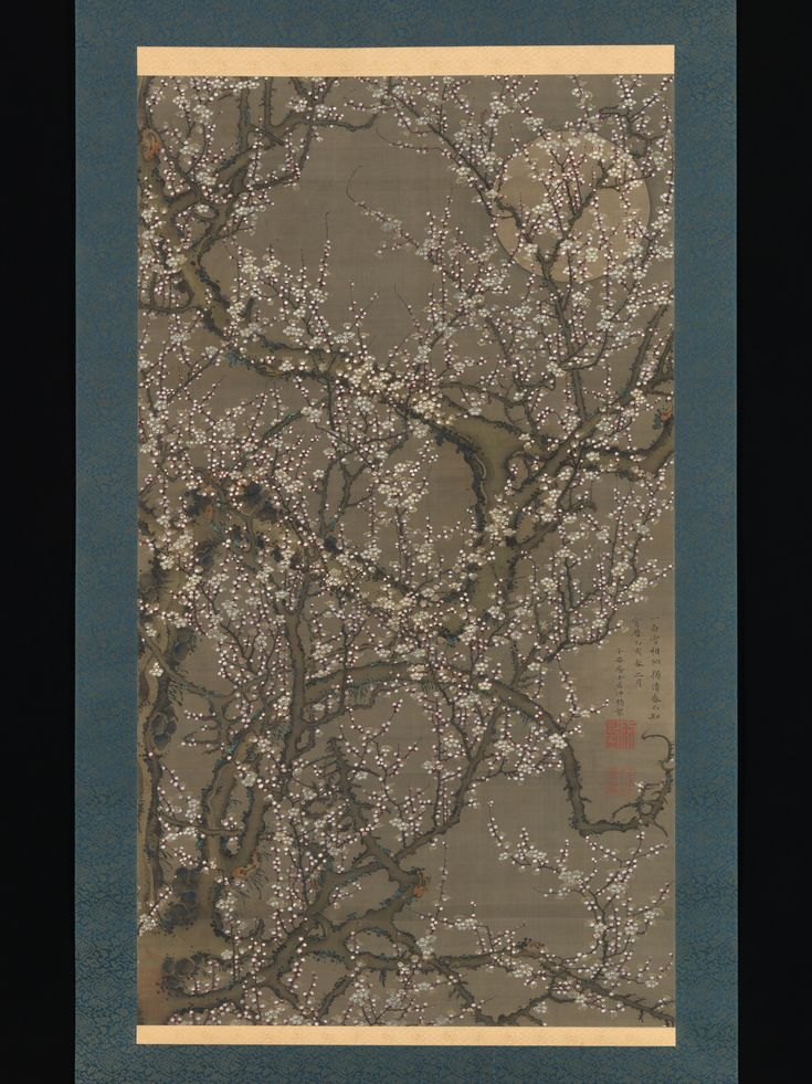 White Plum Blossoms and Moon, 1755 by Itō Jakuchū