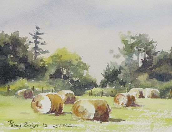 Round Bales in July by Poppy Balser Watercolor ~ 5 x 7