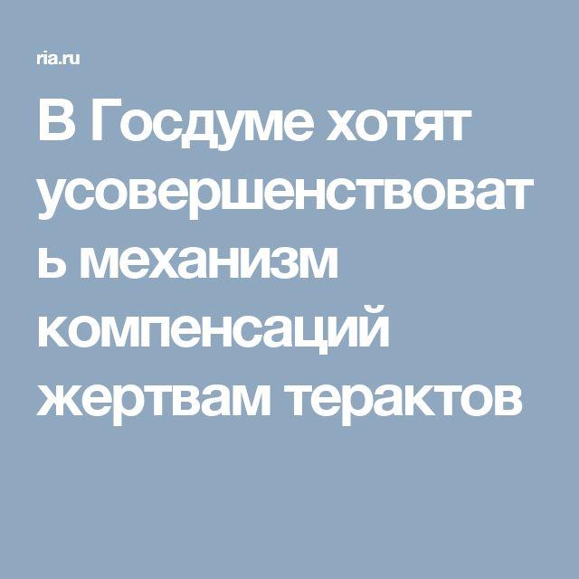 В Госдуме хотят усовершенствовать механизм компенсаций жертвам терактов