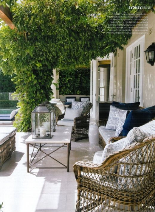A shaded terrace with mediterranean elan photographed by for Outdoor living magazine