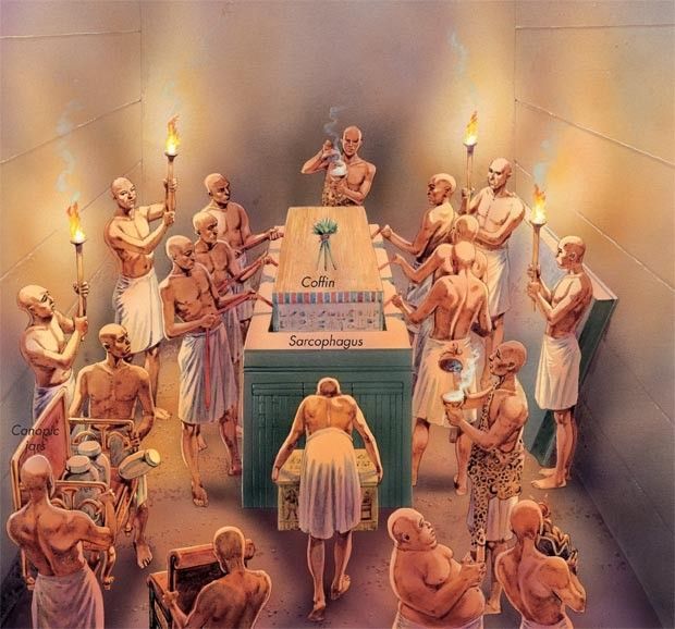 The pharaoh's coffin is lowered into a sarcophagus in a tomb deep inside the pyramid.