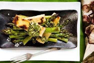 Asparagus, rice flour-fried tofu and cashew mint sauce
