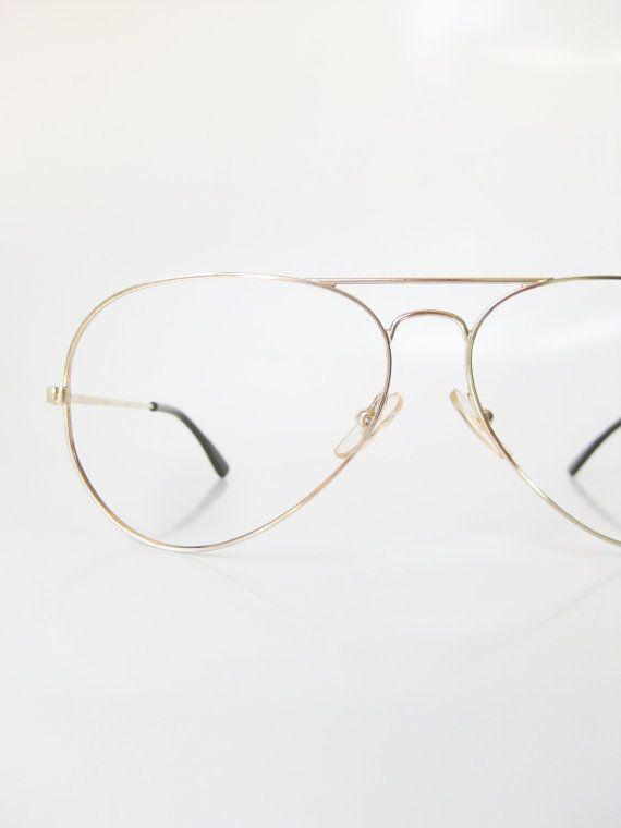 5ceeb5c95 1970s Mens Wire Rim Aviator Eyeglasses Gold Metallic Deadstock Vintage  Glasses Eyeglass Frames Optical Sunglasses Oversized