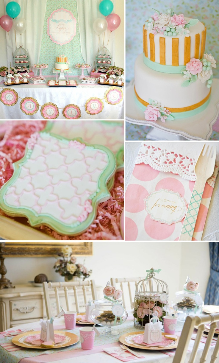 Shabby Chic Baptism Dessert Social Party with so many beautiful ideas! Via Karas Party Ideas KarasPartyIdeas.com #baptism #dessert #social #8 #eight #is #great #dessert #table #birthday #party #ideas #idea