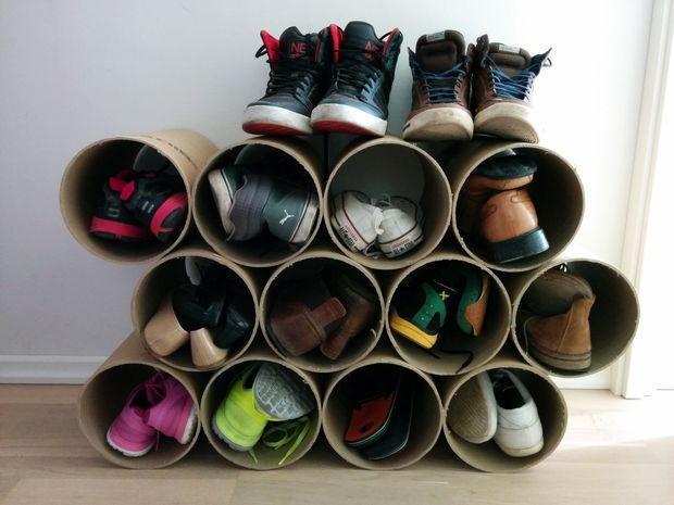 DIY Shoe Storage Using Concrete Forms