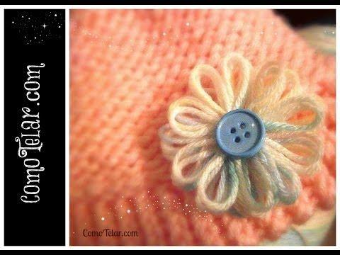 ▶ Flor en Telar Redondo / Circular Knifty Knitter FACIL - Flower Loom Flower in Spanish - YouTube