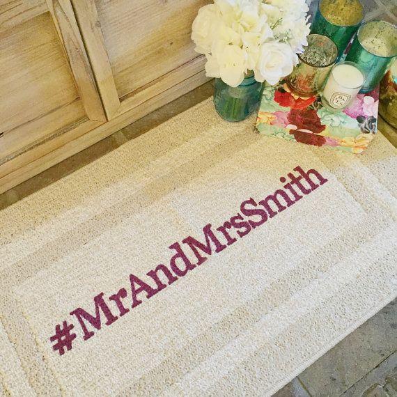 Custom Wedding Hashtag Doormat Door mat Area Rug by BeThereInFive