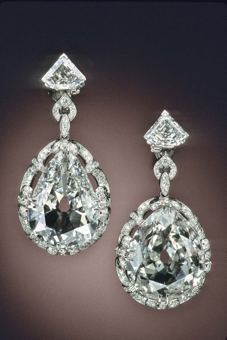 Earrings set with pear-shaped diamonds, weighing 14.25 and 20.35ct. They are said to have been owned by Queen Marie Antoinette.