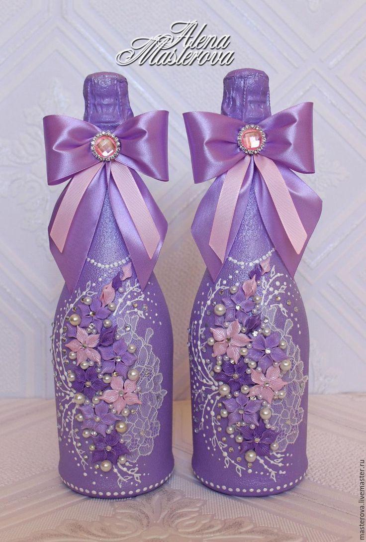 """Купить Декор свадебных бутылок , коллекция """" Натали"""" - сиреневый, сиреневая свадьба, свадебные аксессуары"""
