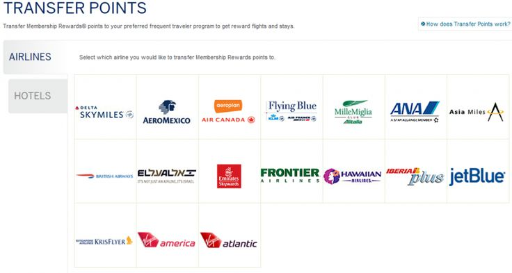 Blue Sky Amex Points: You can transfer Amex Membership Rewards points to 17 airlines and 4 hotels.