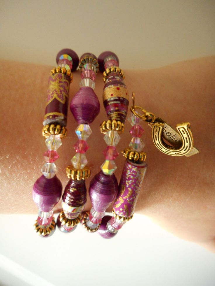 Believe Goodluck Pink/Purple Paper Beaded Memory Wire Bracelet, Paper Bead Bracelet, Wrap Bracelet, Beaded Bracelet, Paper Beads, Horseshoe by tpaperbeadjewellery on Etsy https://www.etsy.com/listing/211802048/believe-goodluck-pinkpurple-paper-beaded