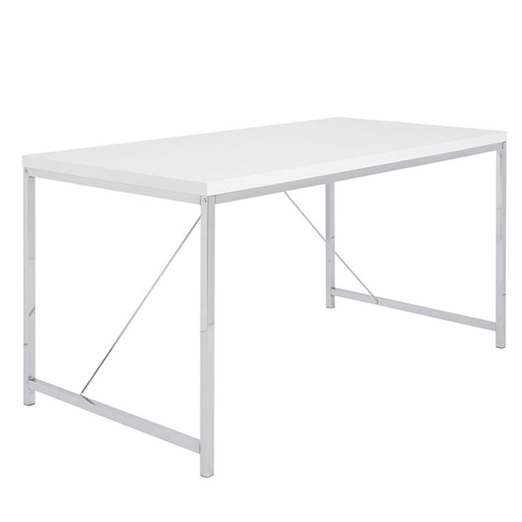 The White Gilbert Desk is a fantastic addition to your home office or dorm room. The polished chrome steel base desk topped with a high glossed MDF surface create a functional desk with the strength of an iron man. The supporting cross ties create...