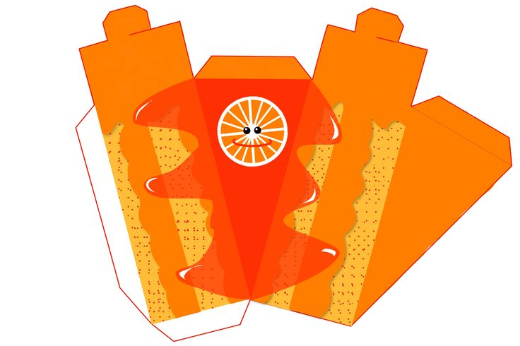 Orange Free Printable Paper Fruit Cakes Box