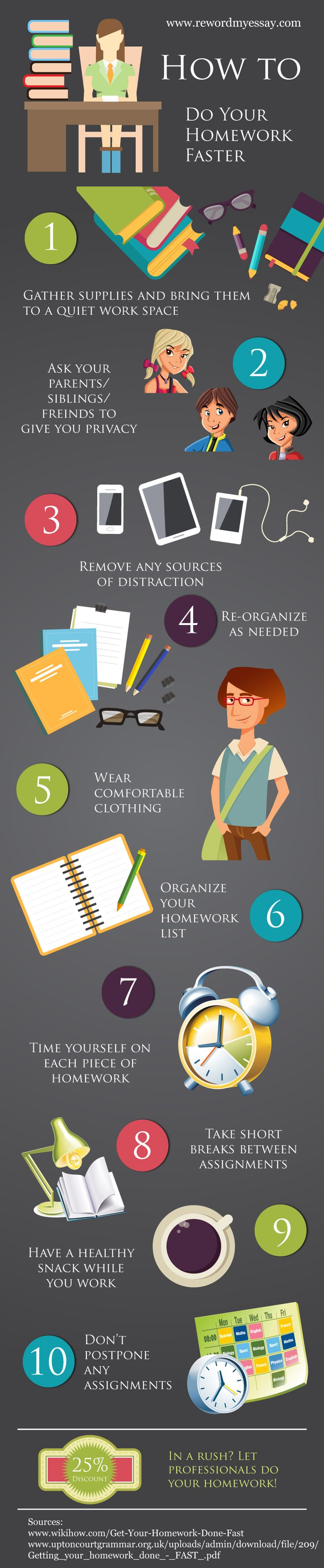 best ideas about homework motivation school tips this infographic presentation presents how to do your homework faster to get the service at low cast please here