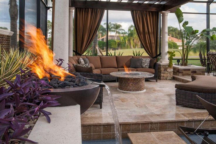 Using a stunning fire/water bowl and fire table brings warmth to the luxurious…