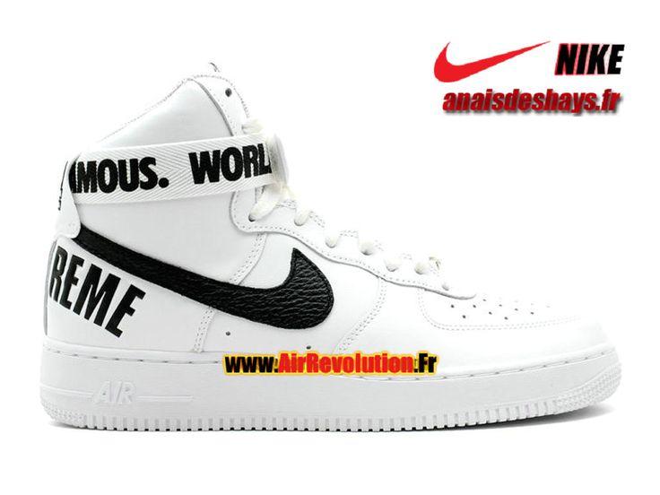Boutique Officiel Nike X Supreme Air Force 1 High GS Femme/Enfant Blanc/Noir 698696-100G