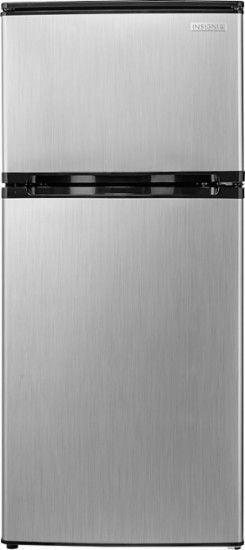 Insignia™ - 4.3 Cu. Ft. Mini Fridge - Stainless steel look - Front Zoom
