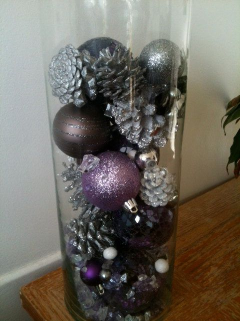 Purple Winter Centerpiece by KEEPITCRAFTY12 on Etsy, $15.00