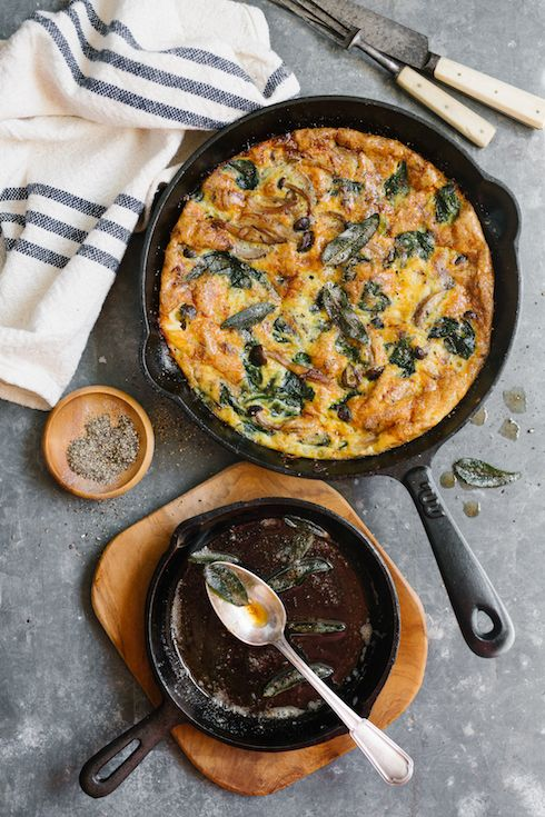 Mushroom, spinach & cheddar frittata with sage butter  |  The Food Fox