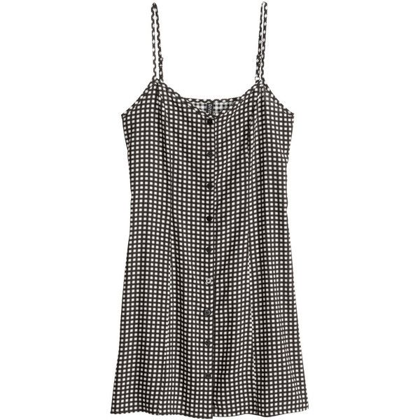 H&M Short dress ($8.69) ❤ liked on Polyvore featuring dresses, tops, vestidos, short dresses, woven dress, rayon dress, viscose dress and button front dress