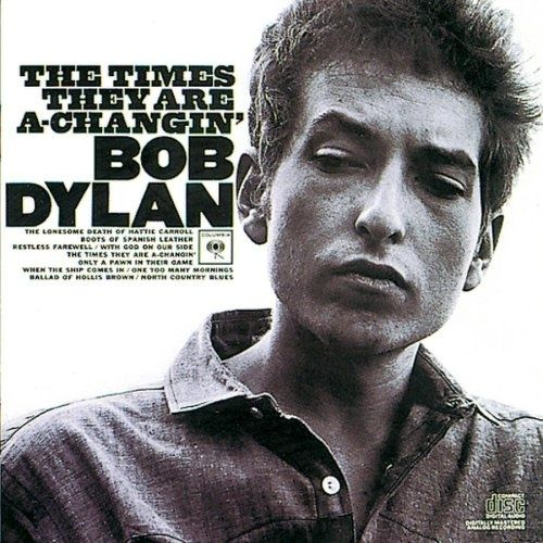 The Times They Are a-Changin' by Bob Dylan (1964) / 42 Classic Black And White Album Covers via BuzzFeed