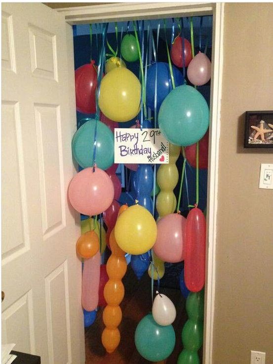 Balloon Curtain.....attach it to the outside of a closed bedroom door for the first birthday surprise of the day x