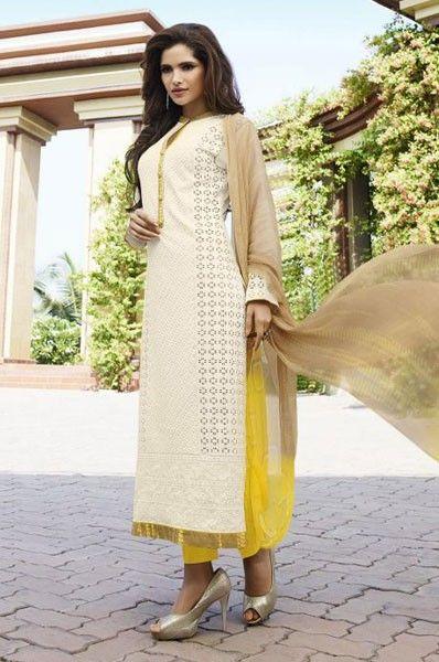 Party Wear Cream Cotton Mirror Work Salwar Suit