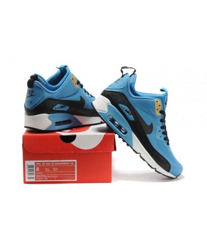 buy online c654a df7db Mens Nike Air Max 90 Mid No Sew Sneakerboots Ns Blue Black ...