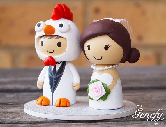 Groom in chicken costume wedding cake topper on We Heart It