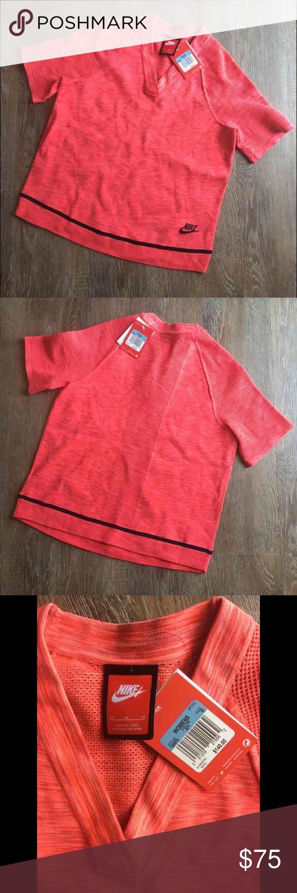 Nike tech knit top Size- Medium  Condition- New with tags Color- Red/pink   Full knit material   Stretchy   Comfortable fit   Super light weight  Retail $140  Thanks for looking! Nike Tops Tees - Short Sleeve