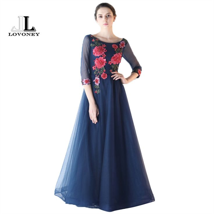 >> Click to Buy << LOVONEY HS205 Royal Blue Prom Dresses 2017 Elegant Long Sleeve Appliques Beading Mother of the Bride Dresses Formal Party Dress #Affiliate