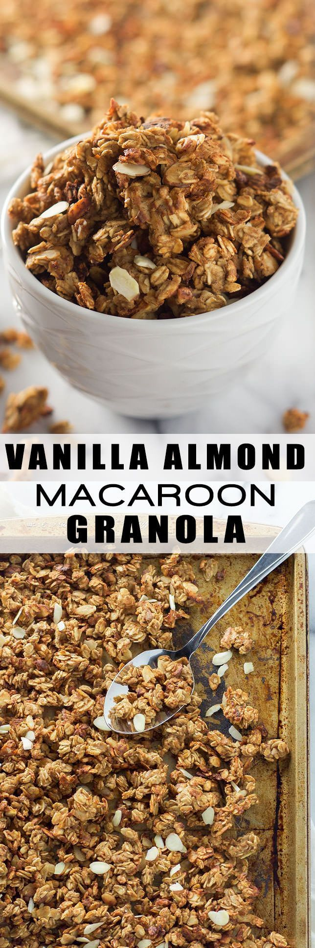 Vanilla Almond Granola Recipe, Homemade, Healthy, Clusters, Cinnamon, Maple, Breakfast, Greek Yogurt, Simple, Rolled Oats, Clean Eating, Egg Whites