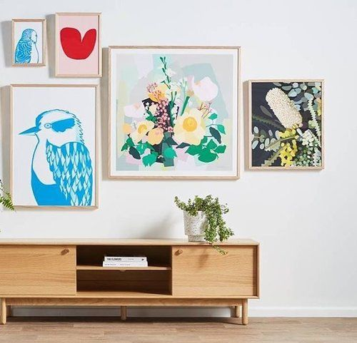 """Ladies all the ladies... This amazing art wall is a repost from @lifeinteriors It includes some of their finest female artists and makers including... @leahbartholomew @madeleine_stamer @kimmyhogan @theadventuresofco @capradesigns @felixfurniture and @foxandramona. // #colour #artwork #femaleartists #floralprints #illustration #concrete #resin #planters #artwall"""""""